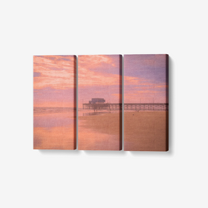 "Faded Seaside Sunset - 3 Piece Canvas Wall Art - Framed Ready to Hang 3x8""x18"" - Tracy McCrackin Photography"