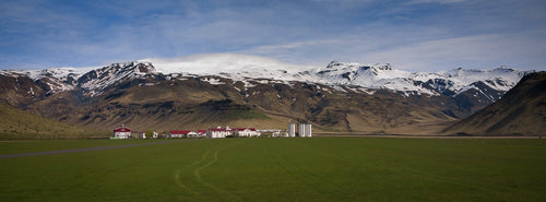 Iceland's Historic Farm Under the Volcano Panorama - Tracy McCrackin Photography