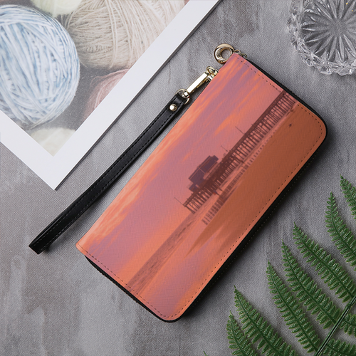 Newport Pier Leather Wallet Clutch Purse - Tracy McCrackin Photography