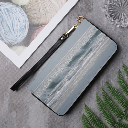 Peaceful Waves Leather Wallet Clutch Purse - Tracy McCrackin Photography