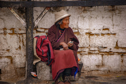 Tibetan Women Waiting at Bus Stop - Tracy McCrackin Photography
