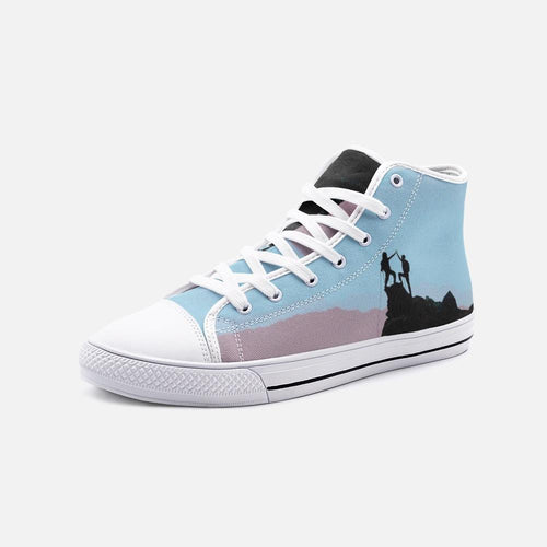 Sick Sends Unisex High Top Canvas Shoes (Blue/Grey) - Tracy McCrackin Photography