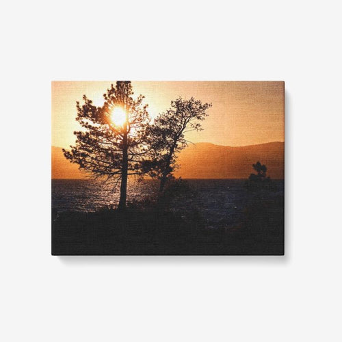 Sunset Over Lake Tahoe - 1 Piece Canvas Wall Art - Framed Ready to Hang 24