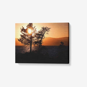"Sunset Over Lake Tahoe - 1 Piece Canvas Wall Art - Framed Ready to Hang 24""x18"" - Tracy McCrackin Photography"