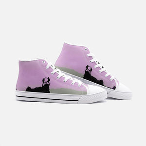Sick SendsUnisex High Top Canvas Shoes (Pink/Grey) - Tracy McCrackin Photography