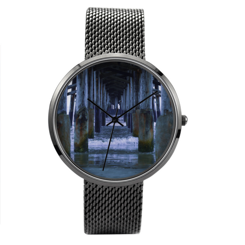 Newport Pier - Waterproof Quartz With Stainless Steel Band Watch - Tracy McCrackin Photography