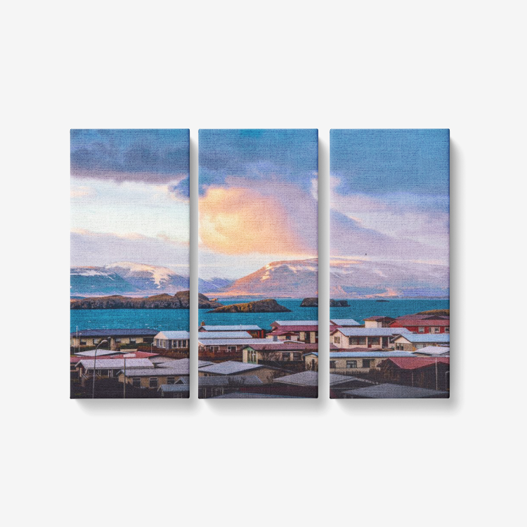 Stormy Iceland - 3 Panel Wall Art - Framed Ready to Hang 3x8