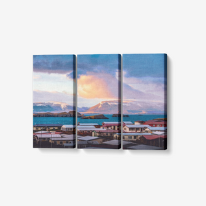 "Stormy Iceland - 3 Panel Wall Art - Framed Ready to Hang 3x8""x18"" - Tracy McCrackin Photography"