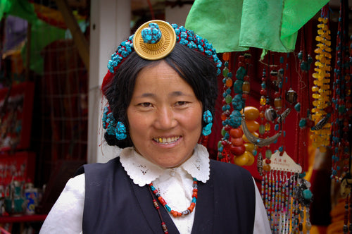 Colorful Family Jewelry Worn as Tibetan Headpiece - Tracy McCrackin Photography