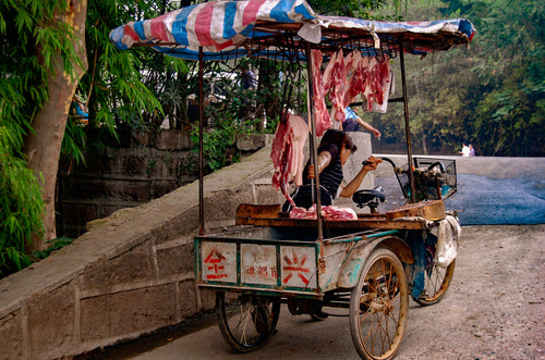 Chinese Butcher Using a Cart - Tracy McCrackin Photography