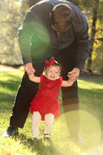 Load image into Gallery viewer, Child Swinging with Father Red Dress