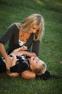 Mother and Son Playing on Grass Together - Tracy McCrackin Photography