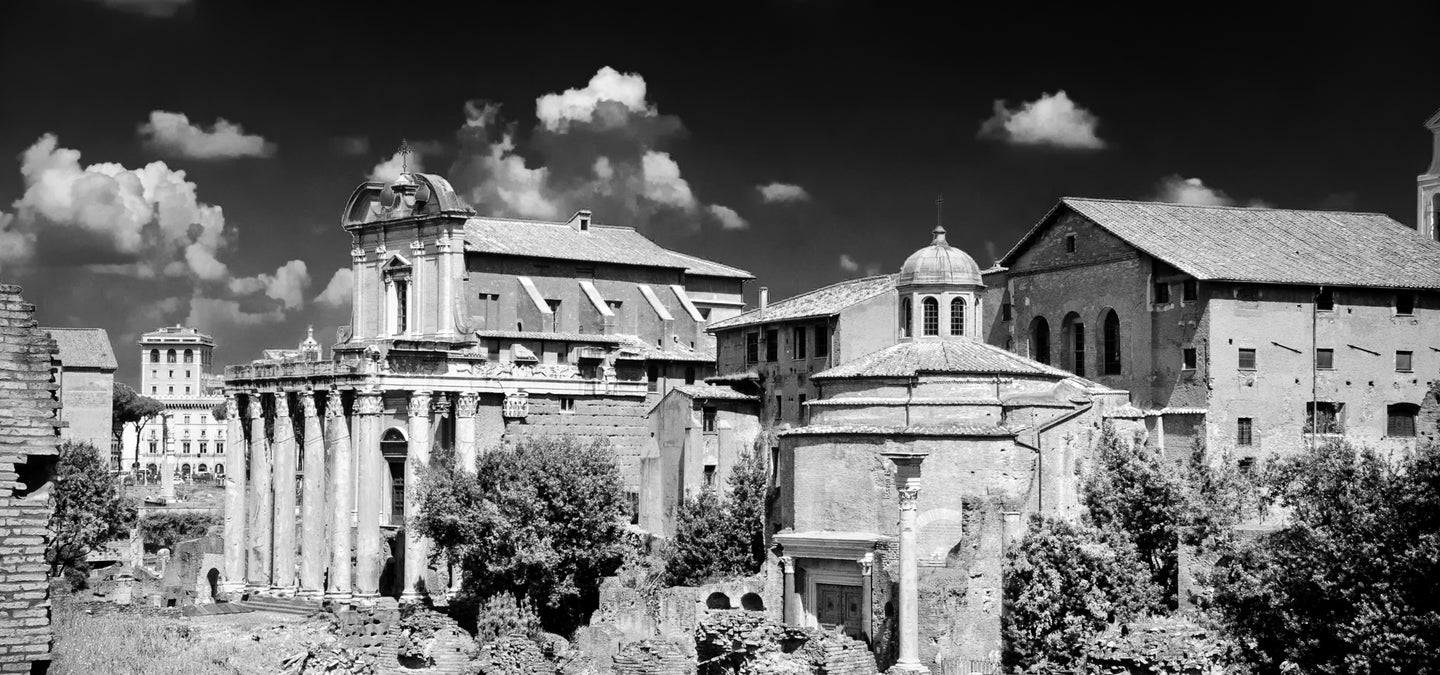 Roman Ruins Pano B&W - Tracy McCrackin Photography
