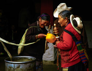 Tibetans at the Water Drum