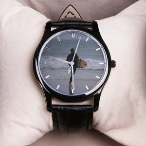 Surfboarder - 30 Meters Waterproof Quartz Fashion Watch With Black Genuine Leather Band - Tracy McCrackin Photography