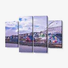 "Load image into Gallery viewer, Arctic Village at Sunset - 4 Piece Canvas Wall Art for Living Room - Framed Ready to Hang 4x12""x32 - Tracy McCrackin Photography"