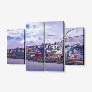 "Arctic Village at Sunset - 4 Piece Canvas Wall Art for Living Room - Framed Ready to Hang 4x12""x32"