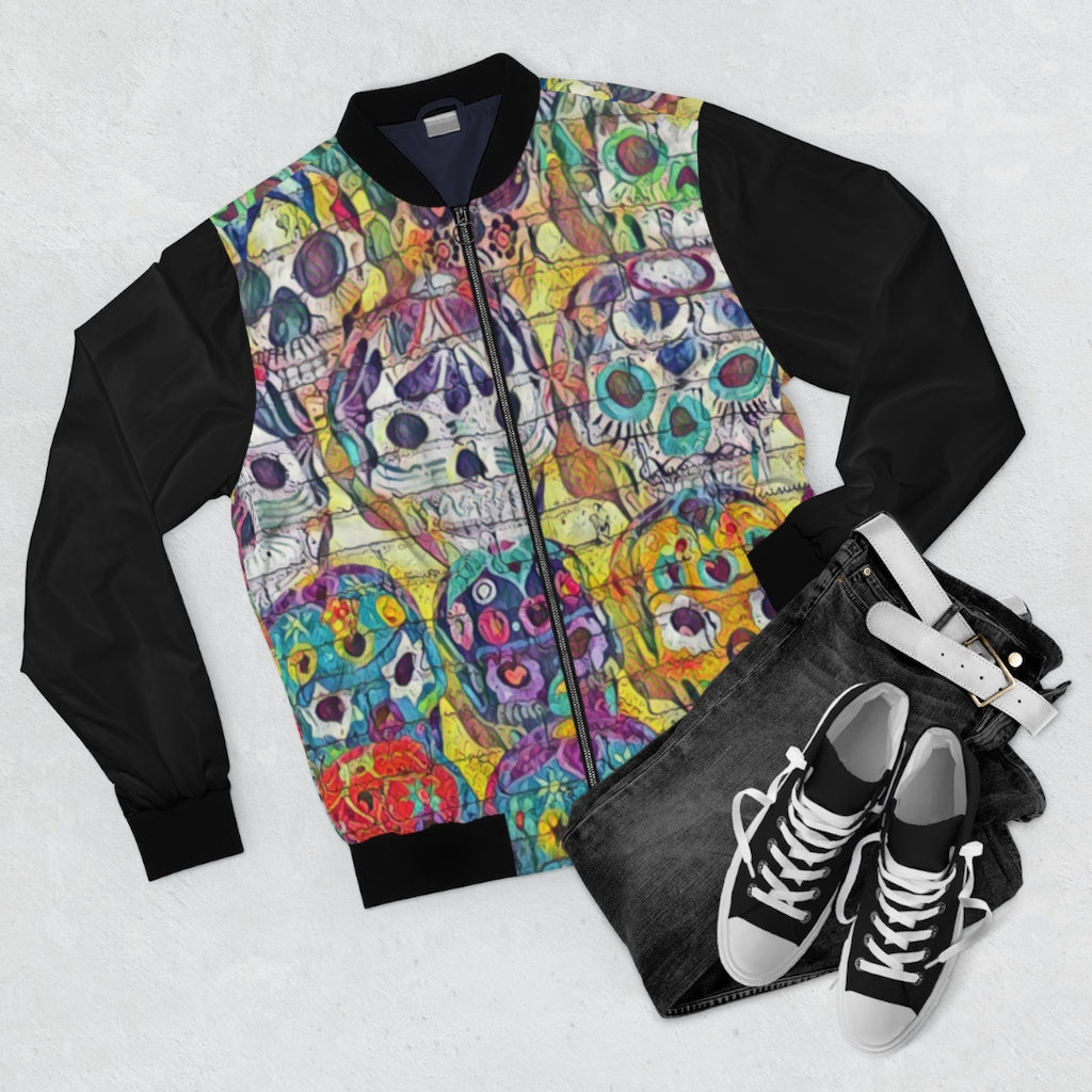 Day of the Dead Skull Bomber Jacket (Black/Full Print) - Tracy McCrackin Photography