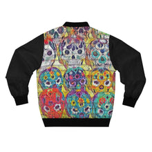 Load image into Gallery viewer, Day of the Dead Skull Bomber Jacket (Black/Full Print) - Tracy McCrackin Photography