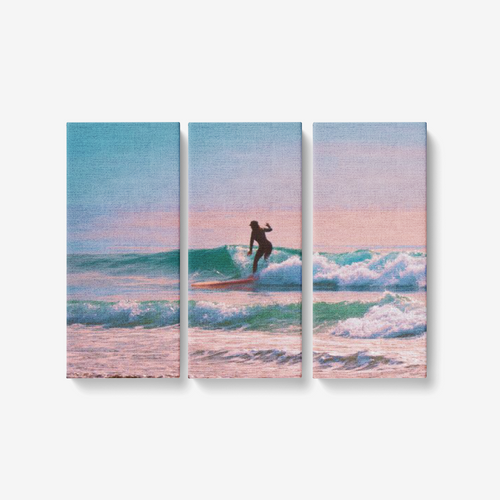 Morning Sunrise Surfer - 3 Piece Canvas Wall Art - Framed Ready to Hang 3x8