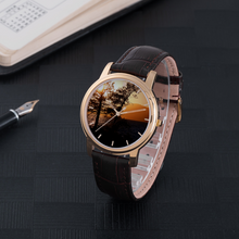 Load image into Gallery viewer, Sunset over the Mountains - 30 Meters Waterproof Watch With Brown Genuine Leather Band