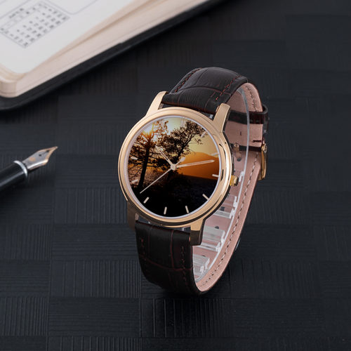 Sunset over the Mountains - Waterproof Leather Band Watch - Tracy McCrackin Photography