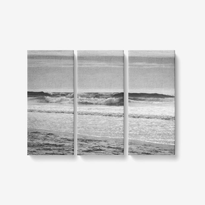 B&W Seaside Landscape - 3 Piece Canvas Wall Art for Living Room - Framed Ready to Hang 3x8