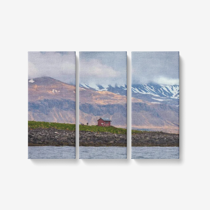 Secluded Arctic Cabin - 3 Piece Canvas Wall Art for Living Room - Framed Ready to Hang 3x8