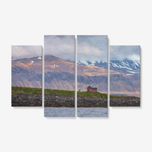 "Load image into Gallery viewer, Arctic Lodge - 4 Piece Canvas Wall Art for Living Room - Framed Ready to Hang 4x12""x32 - Tracy McCrackin Photography"