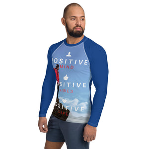 Positive Vibes Men's Rash Guard (Blue) - Tracy McCrackin Photography
