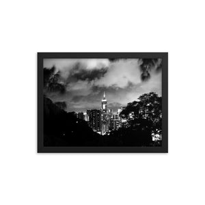 Hong Kong Cityscape Framed poster (BW) - Tracy McCrackin Photography