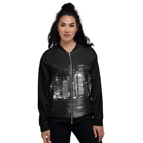 Stunning Cityscape in B&W Unisex Bomber Jacket - Tracy McCrackin Photography