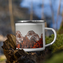 Load image into Gallery viewer, Misty Red Mountains Enamel Mug - Tracy McCrackin Photography