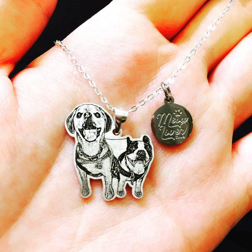 eprolo Custom Personalized Pet/Cat/Dog Photo Necklace Pendants Stainless Steel Engrave Name Necklace Women Men Jewelry Memorial Gift
