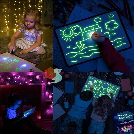 Glow Light Marker & Tablet, Fun And Developing Toy For Kids,merchantvikings