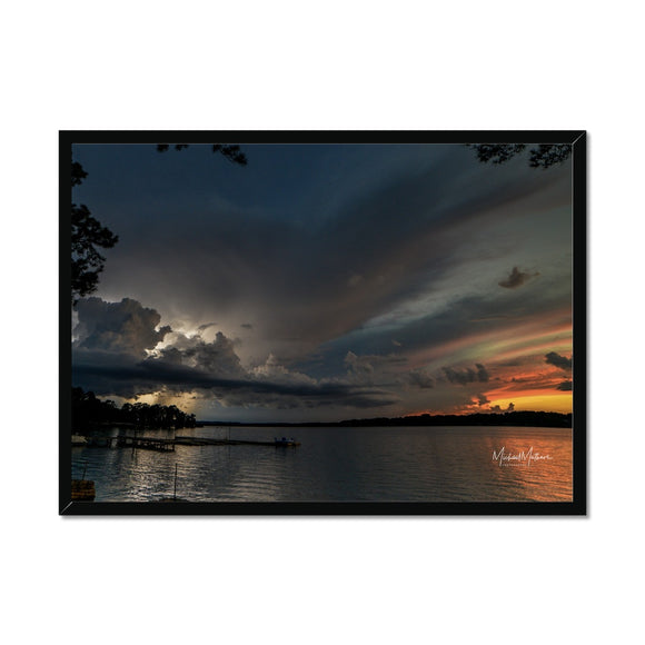 Thunderstorm at Sunset on Lone Star Lake Framed Print