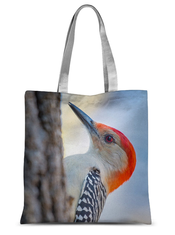 Peek-a-boo Red-bellied Woodpecker Sublimation Tote Bag