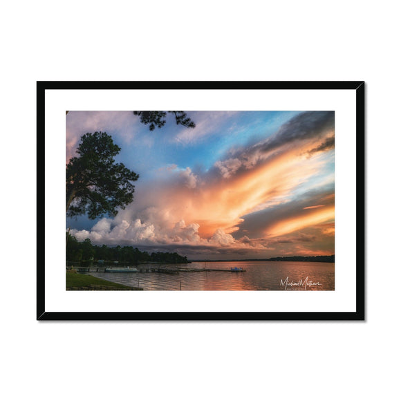 Sunset Storm on Lone Star Lake Framed & Mounted Print