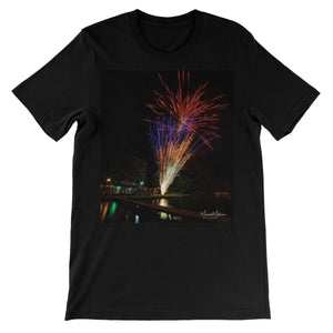 Fireworks on Lone Star Lake Unisex Short Sleeve T-Shirt