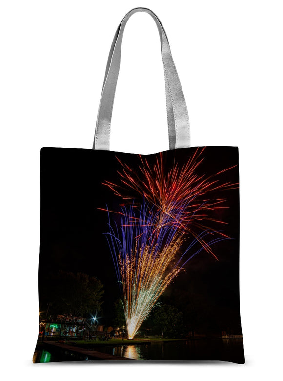 Fireworks on Lone Star Lake Sublimation Tote Bag