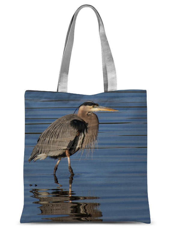Great Blue Heron on Watery Stroll Sublimation Tote Bag