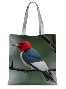Red-headed Woodpecker on a Stick Sublimation Tote Bag