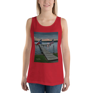 U.S. & Texas Flags at Sunset on Lone Star Lake Unisex  Tank Top