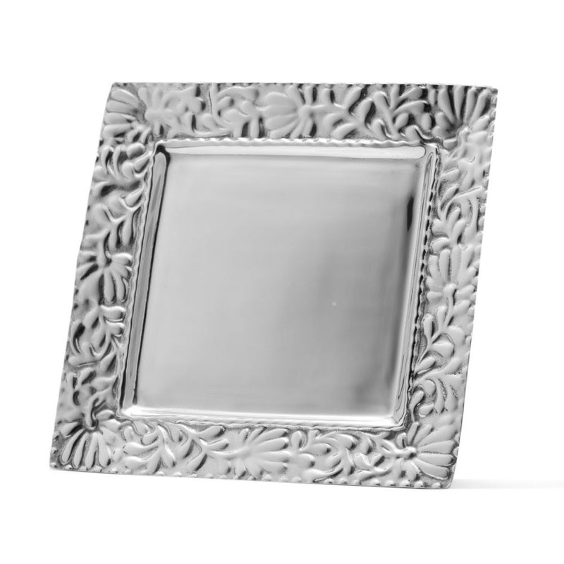 SQUARE FLOWER AND BEADED EDGE PLATE - Lily Fields Home