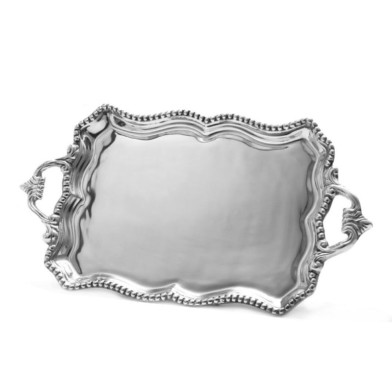 SCALLOPED EDGE BEADED TRAY W/ ORNATE HANDLES - Lily Fields Home