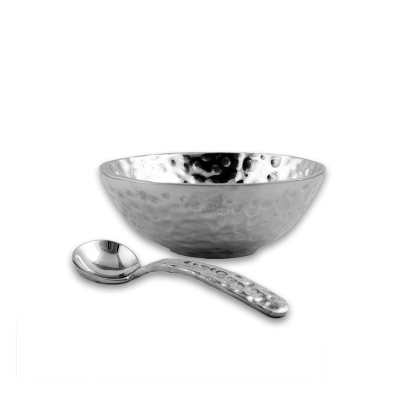 SM HAMMERED BOWL W/ SPOON - Lily Fields Home