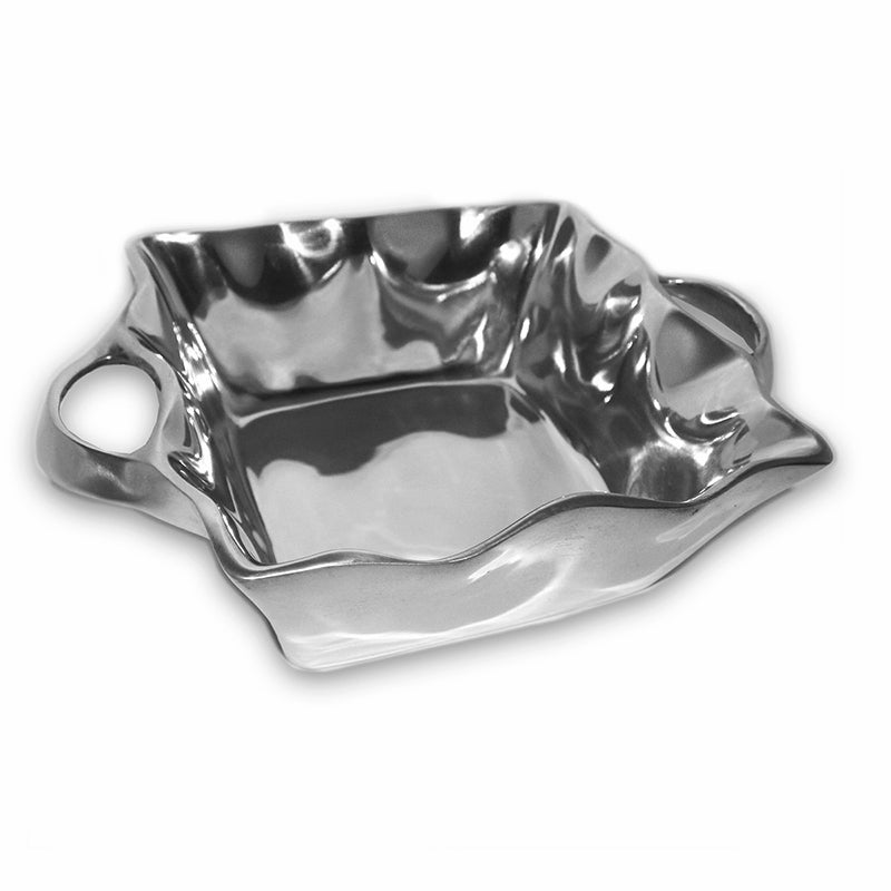 SM SQUARE WAVY CASSEROLE DISH W/ HANDLES - Lily Fields Home