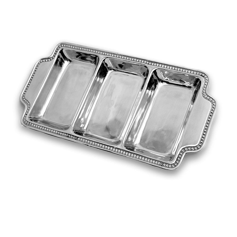 3 SECTION BEADED EDGE SERVING TRAY W/ HANDLES - Lily Fields Home