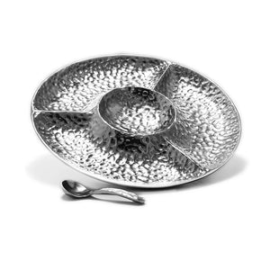 ROUND HAMMERED DIVIDED SERVER W/ SPOON - Lily Fields Home