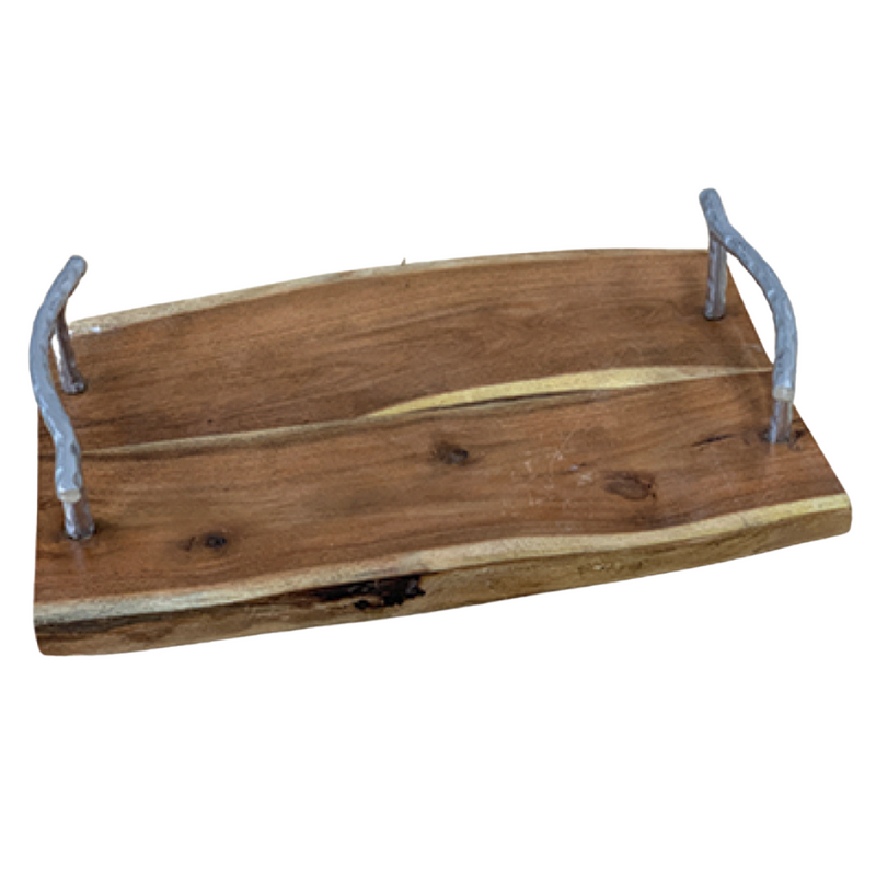 WOOD TRAY W/ GILDED TEXTURED HANDLES